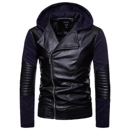 Motorcycle Hoodies For Men NZ - Winter motorcycle rider jacket mens hoodies leather jacket man's genuine cowhide PU leather jacket For men slim coat J1811132