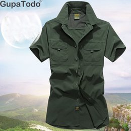 Khaki Outdoor Shirts Men Australia - Hiking Mountaineering Shirt Men Quick Dry Outdoor Shirt Short Sleeve Men Hunting Breathable Outdoor Clothing