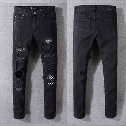 $enCountryForm.capitalKeyWord Australia - Mens Distressed Ripped Biker AMIRI Jeans US Size 28~40 Slim Fit Motorcycle Biker Denim For Men Brand Designer Hip Hop Mens Private order