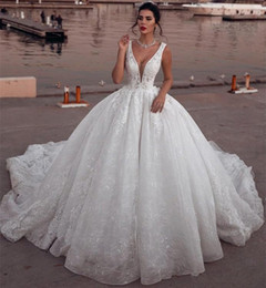 White Lace Short Gown Styles Australia - Noble White 2019 Ball Gown Wedding Dresses Full Lace Appliques Plunging Neck Court Train Arabic Dubai Style Bridal Gowns Luxury