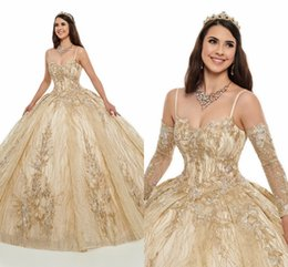 CasCade laCe online shopping - 2020 Champagne Detachable Sleeves Quinceanera Dresses Glitter Sequins Tulle Applique Beaded Ball Gown Strapless Prom Dress Sweet Girls