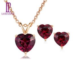 $enCountryForm.capitalKeyWord Australia - LP Solid 14K Rose Gold Natural Gemstone Rhodolite Garnet Stud Earrings & Pendant Bridal Set Jewelry Sets For Women NEW2019