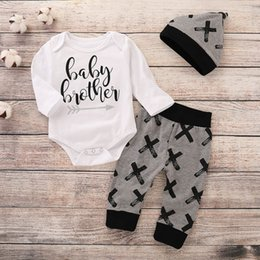 dcc12d1e5 Cute Baby Outfits NZ - good quality Newborn baby boy clothes Letter Romper  Tops+ Pants Hat