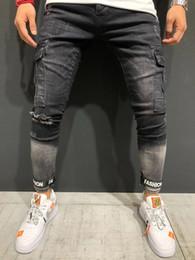 Toptan satış Birçok renkler yeni Erkekler Çok cep Skinny Biker Jeans Motosiklet Hip hop Streetwear elastik Slim fit Kargo Joggers Denim pantolon # 346212
