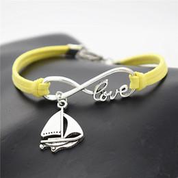 Sailing ropeS online shopping - Yellow Leather Rope Women Men Unisex Charm Bracelets Bangles Unique Fashion Alloy Infinity Love Sailing Ship Sail Boat Shaped Amulet Jewelry