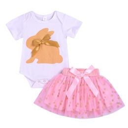 $enCountryForm.capitalKeyWord Australia - Baby Girl Clothes Summer Baby Newborn Girl Short Sleeve Cartoon Rabbit Pattern+Romper Short Mesh Skirts Suits