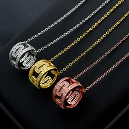 Pendant Letters Gold 18k Australia - 316L titanium steel high quality hollow crystal pendant couple necklace 18K gold ladies back shape cylinder necklace love gift New B letter