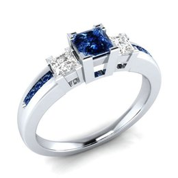 cover crystal set UK - 925 Silver White Gold Cover Blue Topz Crystal Women Party Jewelry Girl Love Shiny Birthday Gift Size 6,7,8,9,10