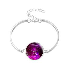 $enCountryForm.capitalKeyWord NZ - Bohemian 12 Horoscope Zodiac Virgo Time Gem Glass Cabochon Women Men Jewelry Silver Hard Chain Wrap Valentine Gift Charm Bracelets & Bangles
