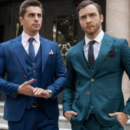 $enCountryForm.capitalKeyWord NZ - JRHYME Men`s Slim Fit Suit Blazer Jacket Tux Vest & Trousers 3-Piece Suit Set Single Breasted Blue & Green Wedding Suits