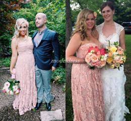 $enCountryForm.capitalKeyWord Australia - Blush Plus Size Bridesmaid Dresses 2019 Sweet Heart Floor Length Lace Garden Country Beach Wedding Guest Gowns Maid Of Honor Dress