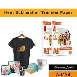 impresora de inyección de tinta 100 hojas de papel de transferencia por sublimación caliente / A4 no sean de algodón color de la luz del papel de transferencia de calor camiseta A3 de secado rápido para hornear pap en venta