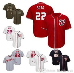 salute service jerseys NZ - Men Women Youth Nationals Jerseys 22 Soto Baseball Jerseys White Gray Grey Red Navy Blue Green Salute to Service Players Weekend like