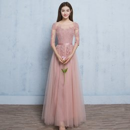 $enCountryForm.capitalKeyWord NZ - Chep Blush Pink Bridesmaid Dresses 2019 Sexy Sheer Back Mixed Style In Stock Lace Maid of the Honor Dresses Evening Gowns