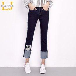 women ankle cuffs NZ - New Arrival Spring Plus Size Letter Printing Cuff Stretch High Waist Ankle Length Women Skinny Straight Jeans T190604