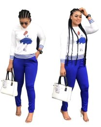$enCountryForm.capitalKeyWord Australia - Women designer tracksuit long sleeve pantsuit outfits hoodie sportswear 2 piece set casual print o-neck tee top + pants klw1839