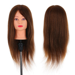 """practice hair head 2019 - 24"""" 100% Real Human Hair Mannequin Head Hairdressing Training Head With Table Clamp Stand Hairdresser Practice Tool"""