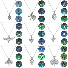 glow dark beads Australia - Glow in The Dark necklaces For women peacock crab flower angel Drop type Elephant Turtle Glowing Beads Cage Pendant Jewelry