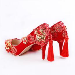 $enCountryForm.capitalKeyWord NZ - Lovely2019 Xi Shi Down Chinese Style Wedding Shoes Phnom Penh Red Lace Toast Tassels As One Es Kun Xiu Wo Women's Singles Shoe