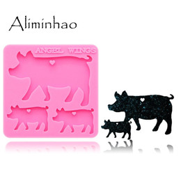 DY0124 Shiny Pig mother baby family Keychain silicone molds DIY epoxy resin molds for jewelry Decorative Craft Mold