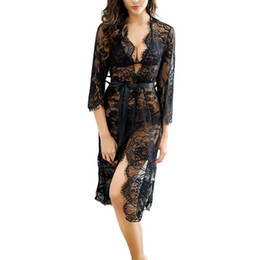 Wholesale floral sleeve raglan for sale – plus size Sexy Nightgowns Women Sleepshirts Three Quarter Sleeve Nightgown Robes Sleep Wear Floral Lace Night Dress
