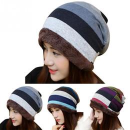 Winter Fashion Stripes Thicken Fluffy Plush Women Outdoor Warm Knitted Hat  Cap Ladies Headgear Hat Velvet Padded Head Cap c80632ef611c