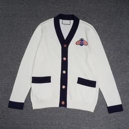 aacfb2e7d6cb 2019 Fashion Cardigan sweater men s designer sweaters long Sleeve Bee  embroidery Black striped neckline Knitwear Black Winter New Mens aaa