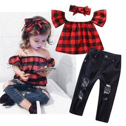 kids tracking suit NZ - kids outfits clothes girls 2019 one shoulder red plaid shirt+hole jeans suit two piece summer set baby tracksuit track suits Clothing Sets