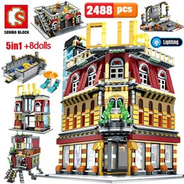 toys city NZ - SEMBO 5-in-1 USB Light Nightclub House Building Blocks City Street View Series Figures Bricks Education Toys for Kid