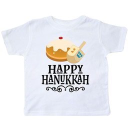 e4d53d26e1 Inktastic Happy Hanukkah Dreidel Donut Toddler T-Shirt Holiday Celebrate Of  Gift Women Men jersey Print t-shirt