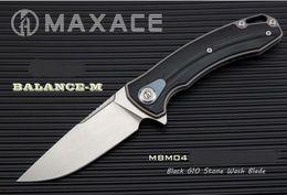 Vente en gros Noir Nouveau Maxace Balance M G10 poignée M390 Lame Flipper Roulement Camping Couteau Livraison Gratuite