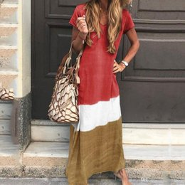 summer simple maxi dress sleeves Australia - New Summer Dresses for Women: Simple, Loose, Short Sleeves and Long Sleeves in Europe and America