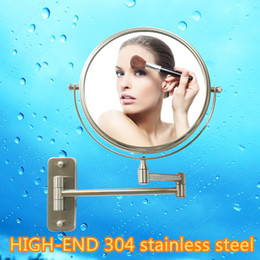 $enCountryForm.capitalKeyWord NZ - 8 inch HIGH-END 304 stainless steel wire drawing bathroom mirrors Dual Arm Extend 2-Face wall hanging Makeup mirror 3 x zoom