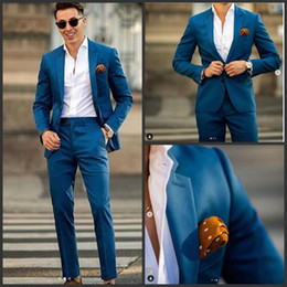 Groom western suit online shopping - 2019 new Blue mens wedding suits tuxedo costumes pour hommes designer formal mens suits groom man western style suits Coat Pants