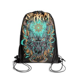 cool cartoon boys UK - Drawstring Sports Backpack slipknot Cool vintage convenient sack pouch Pull String Backpack