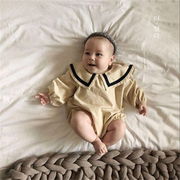 $enCountryForm.capitalKeyWord Australia - INS Toddler Baby Boys Rompers Linen Cotton Fabric Blank Long Sleeve Back Buttons Designs Turn-down Collar Newborn Kids Boys Girls Jumpsuits