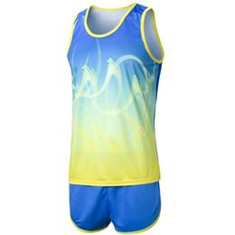 Track Field Sports UK - Marathon training sets men sports joggging suit running clothes men track and field sets fitness running race training clothes #532357