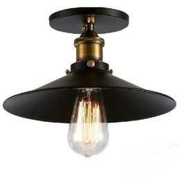 $enCountryForm.capitalKeyWord Australia - Industrial Retro Vintage Flush Mount LAMP Black Metal Shade Ceiling Pendant Lamp Loft America Light Fixture