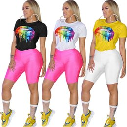 wholesale round neck tee shirts NZ - Women Lips Painted Color T shirt Summer Top Tees Short Sleeve Round Neck Rainbow Tshirts Sexy Lip Fashion T-shirt S-3XL Plus Size A3134