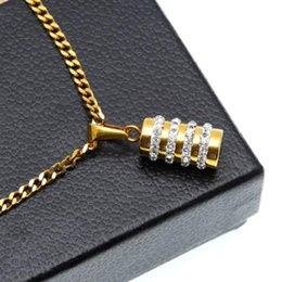 bullet gifts Australia - New Hip Hop Bling Diamond Bullet Boxing Sandbag Mens Cylindrical Pendant Necklace Gold Pleated Stainless Steel Rapper Jewelry Gifts for Sale