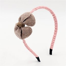 Wholesale New Children wool felt hair accessories headbands hairbands for girls handmade fabric bow hair band hoop fashion kids headdress