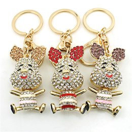 $enCountryForm.capitalKeyWord Australia - Cartoon Animal key pendant Keychains Pooh Pig Key Chain Diamond encrusted Creative Car Key Chain Cute Little Animal Pendant