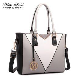 e9a4e063c3ff Miss Lulu Women Leather Handbags Female Designer M Top-handle Tote Ladies V Shoulder  Bags Cross Body Messenger Satchel LG1641