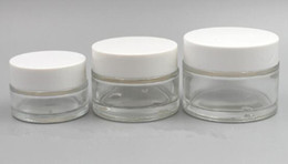 Dab face online shopping - small clear glass jar container white lid ml g g ml g ml g ml g ml wax dab face cream cosmetic packaging