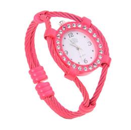 $enCountryForm.capitalKeyWord NZ - Hot AMS-cussi Steel Wire Crystal Quartz Bracelet Bangle Wrist Watch Rose Red