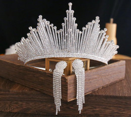 Bling Bling Set Crowns Earrings Bridal Jewelry Accessories Wedding Tiaras Rhinestone Crystal Headpieces Hair Wedding Crowns on Sale