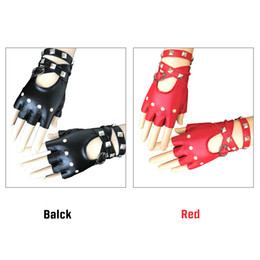 Rivets leatheR gloves online shopping - Universal Motorcycle Gloves Women S Fashion Windproof Half Finger Rivets Durable PU Leather