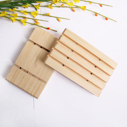 Wholesale Handmade wood soap holder pine soap tray bathroom soap dishes with groove multi functional kitchen storage tool