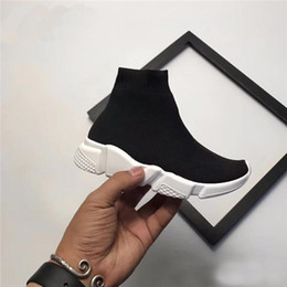 Girls hiGh top sneakers kids online shopping - Fashion Kids Socks Boots Children Athletic Shoes Casual Flats Speed Trainer Sneaker Boy Girl High Top Running Shoes Black White