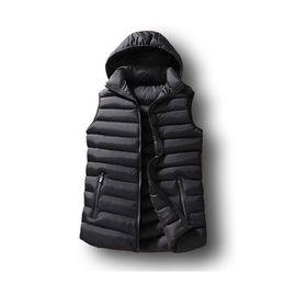 Wholesale cotton work vests resale online - Mens Winter Sleeveless Jacket Men Down Vest Mens Warm Thick Hooded Coats Male Cotton Padded Work Waistcoat Gilet Homme Vest XL